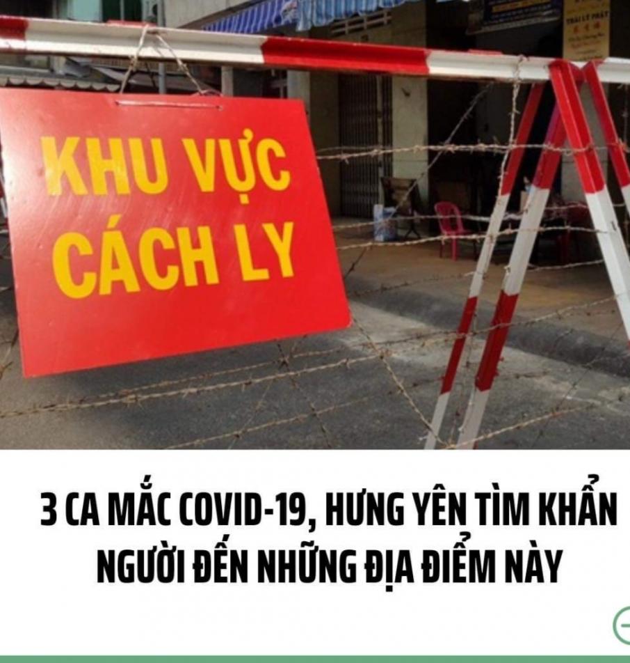 Hưng Yên: Truy vết các địa điểm liên quan ca mắc Covid-19 mới