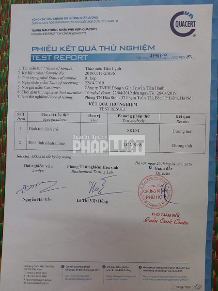phat hien chat cam sibutramine trong san pham thao moc tien hanh