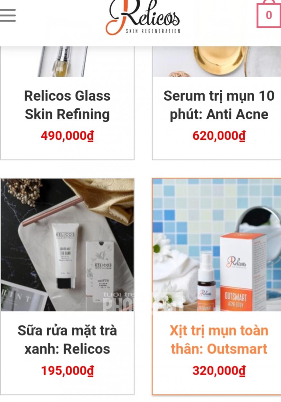 Nhãn hàng Relicos có dấu hiệu lưu hành chui sản phẩm Serum trị mụn Anti Acne