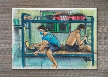 Du học sinh Anh gây sốt với bức tranh ký họa cuộc sống trong khu cách ly