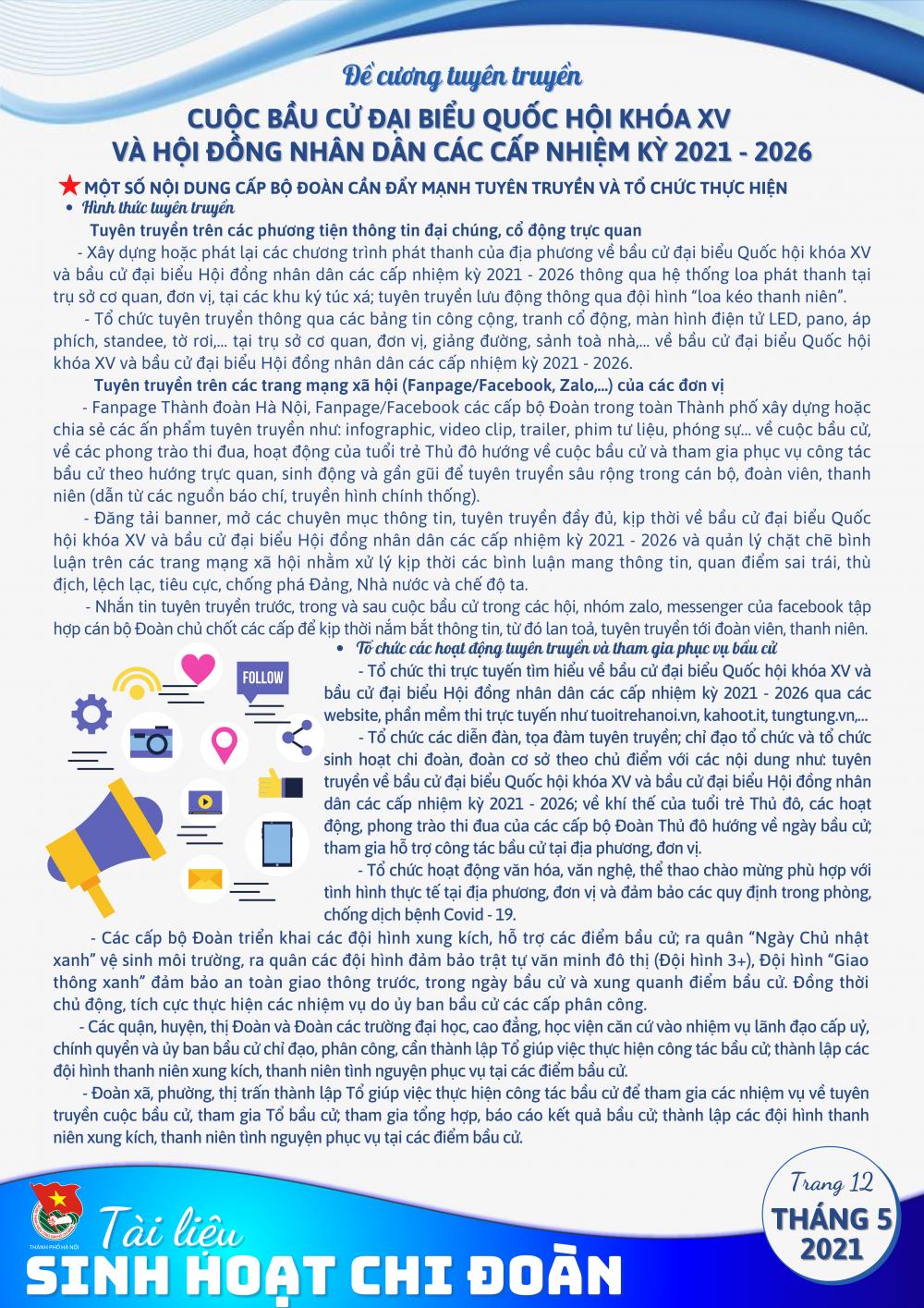 Thành đoàn Hà Nội phát hành tài liệu sinh hoạt chi đoàn chủ đề