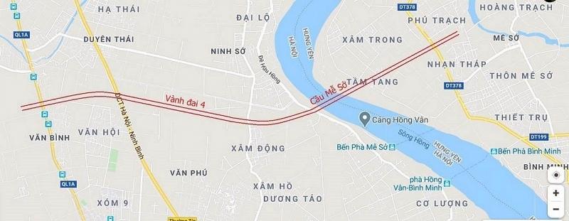 Cầu Mễ Sở nằm giữa trạm bơm Hồng Vân và phà Mễ Sở và trên tuyến đường Vành đai 4 theo qui hoạch từ Hà Nội đi Hưng Yên.