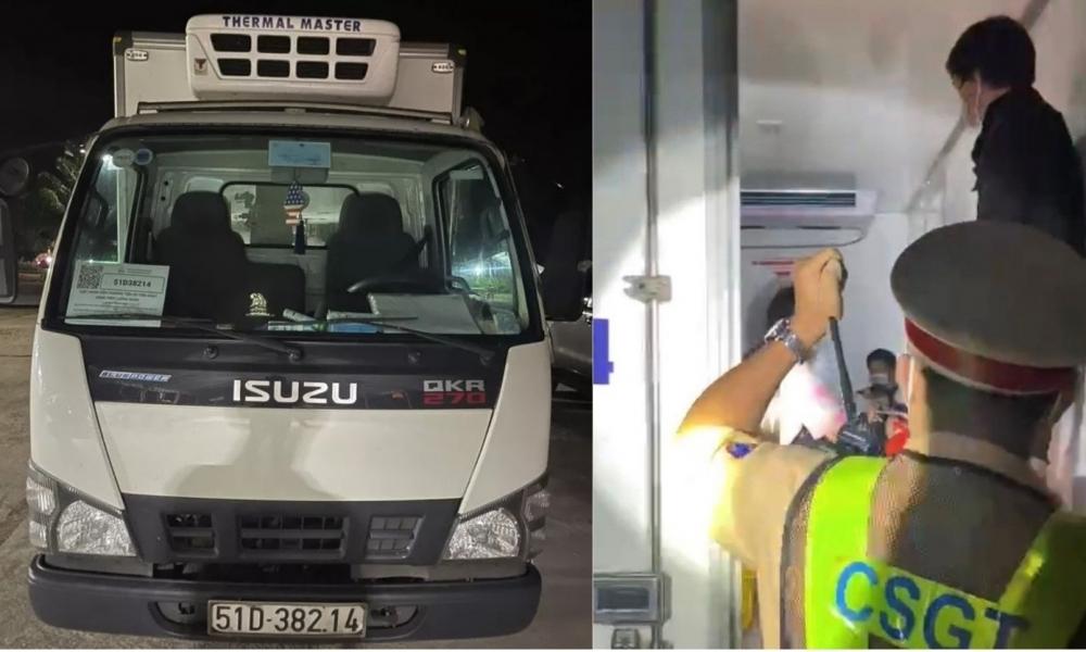 Xe tải đông lạnh chở 15 người thông chốt kiểm soát dịch tại Bình Thuận