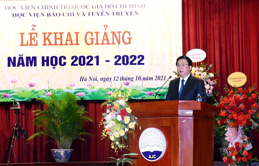 GS.TS Nguyễn Xuân Thắng phát biểu tại Lễ khai giảng năm học mới Học viện Báo chí và Tuyên truyền