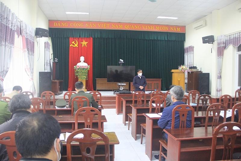 Phó Chủ tịch UBND tỉnh Hải Dương - ông Lưu Văn Bản phát biểu chỉ đạo tại huyện Cẩm Giàng