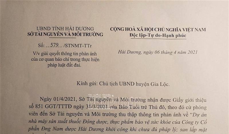 Công ty cổ phần Đông Nam Dược Hải Dương thi công không phép, chính quyền ở đâu?