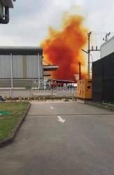 Cẩm Giàng (Hải Dương): Đám khói màu cam đậm bao phủ một phần khu công nghiệp Phúc Điền