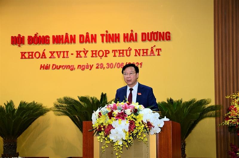 Đồng chí Phạm Xuân Thăng, Ủy viên Trung ương Đảng, Bí thư Tỉnh ủy, Chủ tịch HĐND tỉnh khóa XVII phát biểu nhận nhiệm vụ