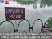 Dựng biển báo, rào sắt cảnh báo nguy hiểm khu bờ kè, đường dạo Hồ Gươm