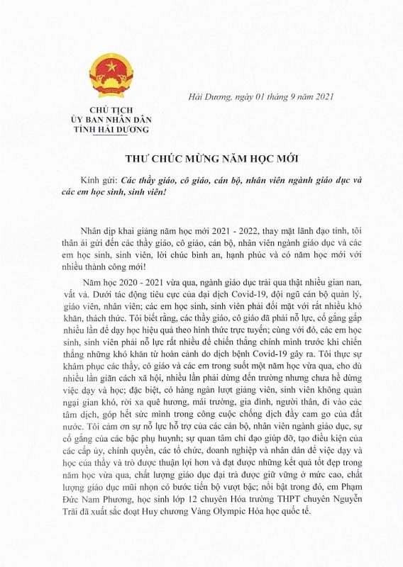 Chủ tịch UBND tỉnh Hải Dương gửi thư chúc mừng năm học mới