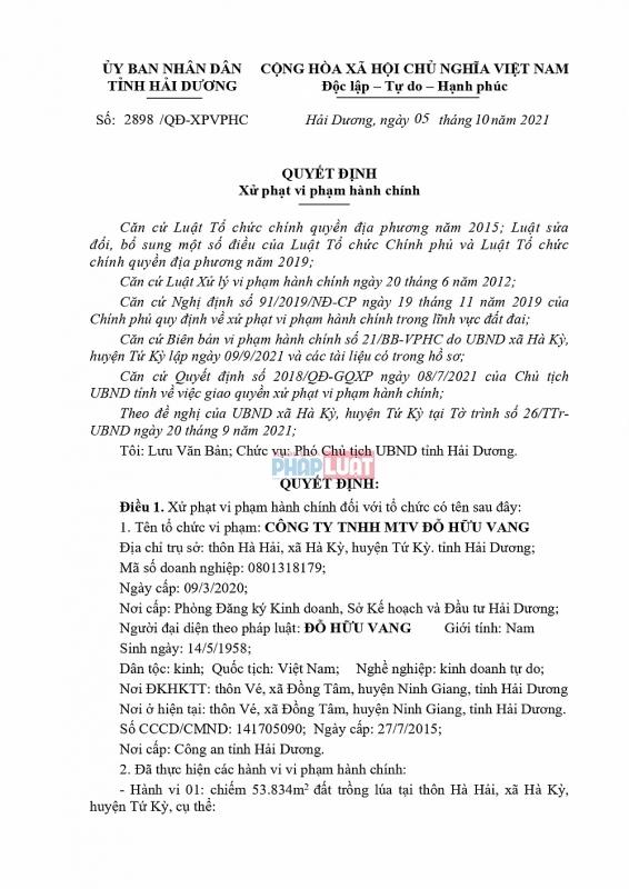 Hải Dương: San lấp trái phép, Công ty TNHH MTV Đỗ Hữu Vang bị phạt nặng