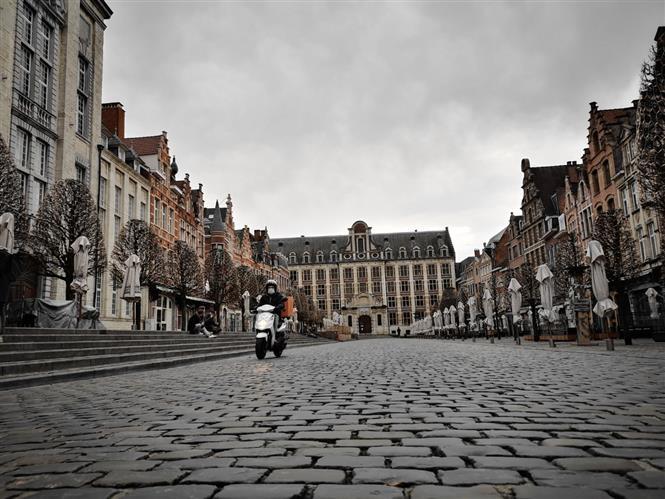 Quảng trường trung tâm thành phố Louvain, Vương quốc Bỉ (Ảnh: Đức Hùng-P/v TTXVN tại Vương quốc Bỉ)