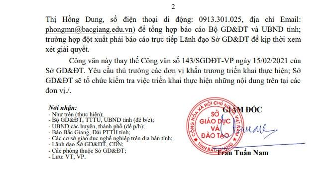 Bắc Giang: Học sinh đi học trở lại từ ngày 22/02/2021