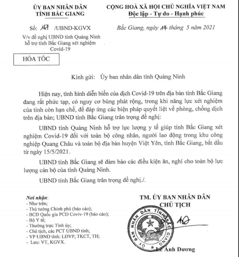 Bắc Giang đề nghị Quảng Ninh chi viện hỗ trợ xét nghiệm Covid-19