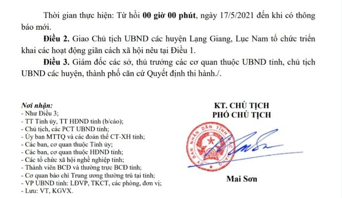 Bắc Giang giãn cách xã hội thêm 2 huyện Lục Nam và Lạng Giang