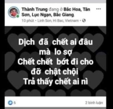 Phạt 2 facebooker 10 triệu đồng vì đăng tin xuyên tạc về dịch Covid-19 tại Bắc Giang