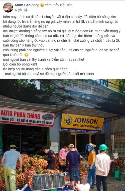 Facebook Minh Leo đăng tin bị ép giá bán Vải Thiều