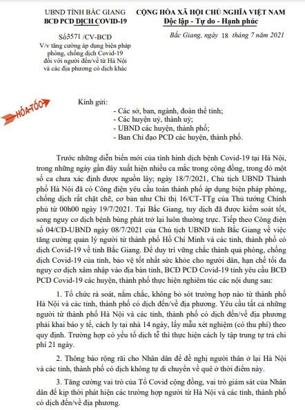 Ra vào tỉnh Bắc Giang từ ngày 18/7 cần biết những điều này