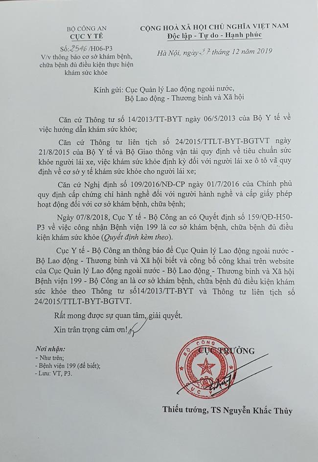 bo sung danh sach benh vien 199 bca du dieu kien kham suc khoe xuat khau lao dong