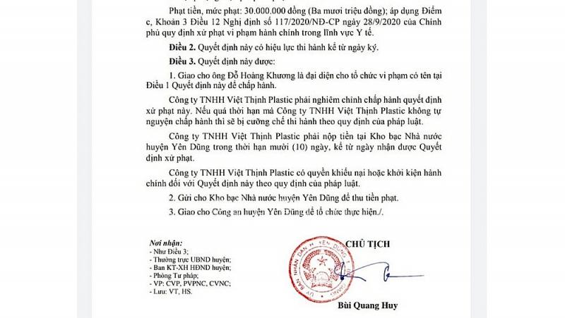 Công ty TNHH Việt Thịnh Plastic bị xử phạt vì vi phạm phòng chống dịch