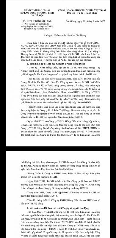 """Bắc Giang: Công ty Hồng Điều """"hứa"""" cuối năm 2021 sẽ đóng đủ BHXH cho công nhân"""