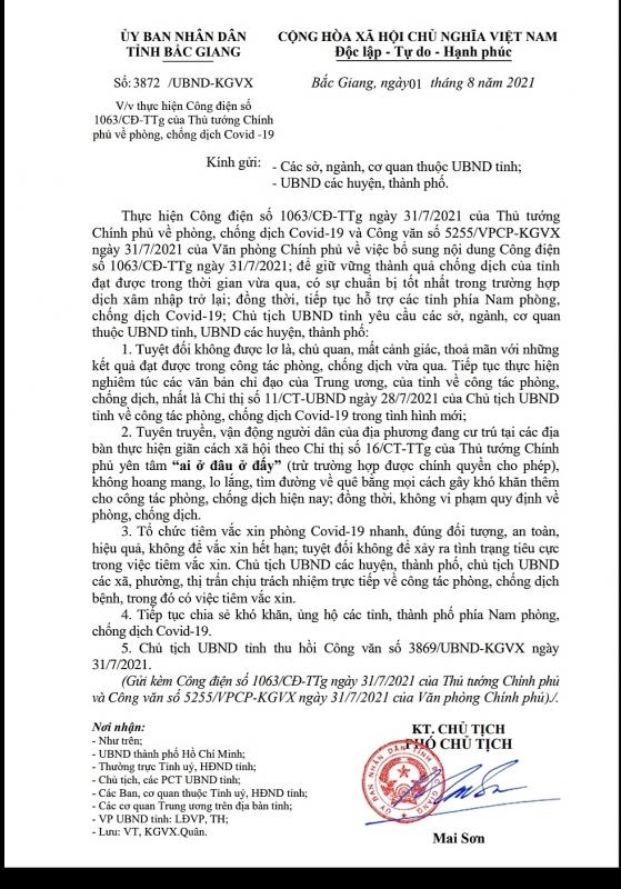 Bắc Giang dừng đón người dân trở về từ TP HCM