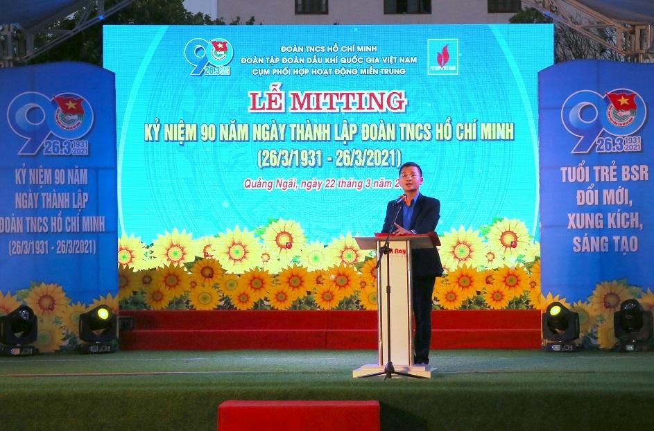 Bí thư Đoàn Thanh niên BSR Nguyễn Huy Du phát biểu khai mạc lễ mít tinh