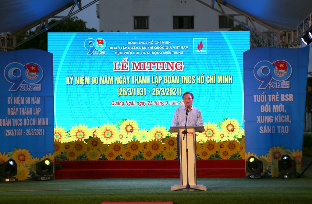 Tổng Giám đốc BSR Bùi Minh Tiến phát biểu với thanh niên Dầu khí cụm miền Trung