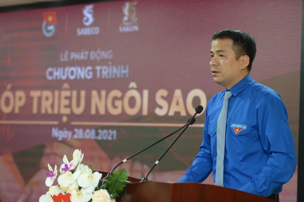 Đồng chí Ngô Văn Cương, Bí thư Trung ương Đoàn phát biểu tại lễ phát động
