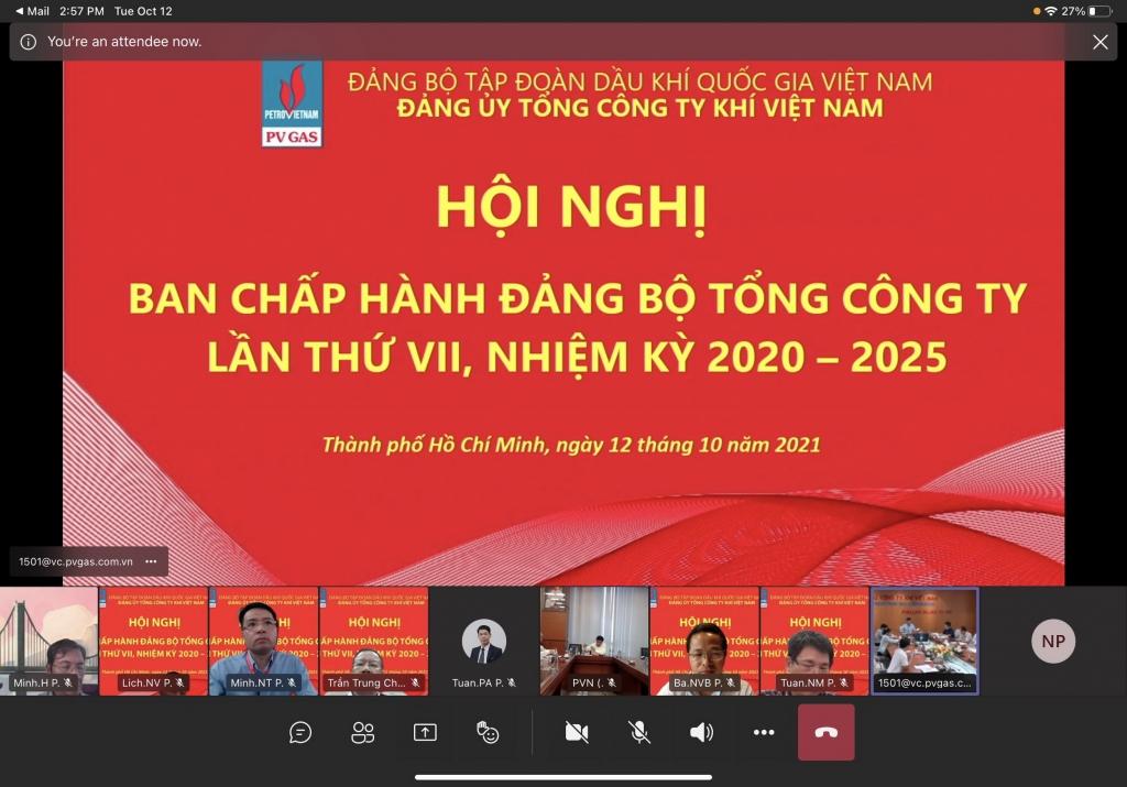 Hội nghị BCH Đảng bộ PV GAS được tổ chức trực tiếp và trực tuyến trong bối cảnh tiếp tục phòng chống dịch Covid-19