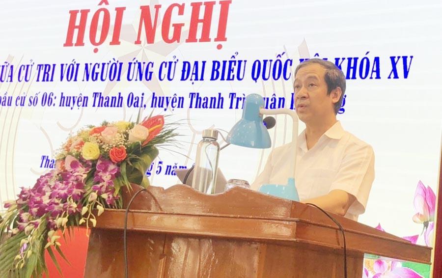 Ứng cử viên Nguyễn Kim Sơn hứa sẽ có chính sách phát triển ngành giáo dục đào tạo của huyện Thanh Oai