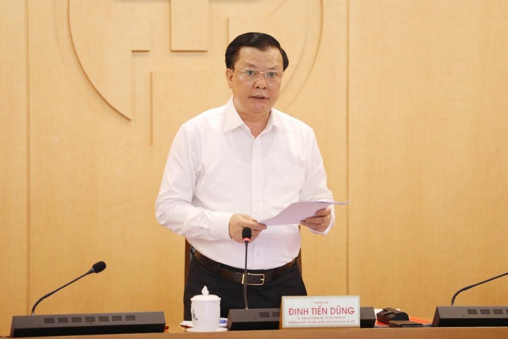 Bí thư Thành uỷ Đinh Tiến Dũng phát biểu chỉ đạo tại hội nghị