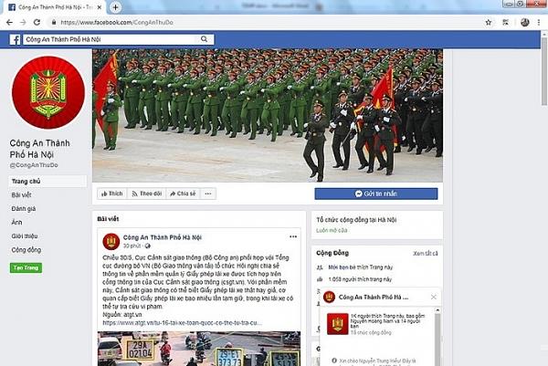 cong an tp ha noi tiep nhan thong tin ve an ninh trat tu qua facebook