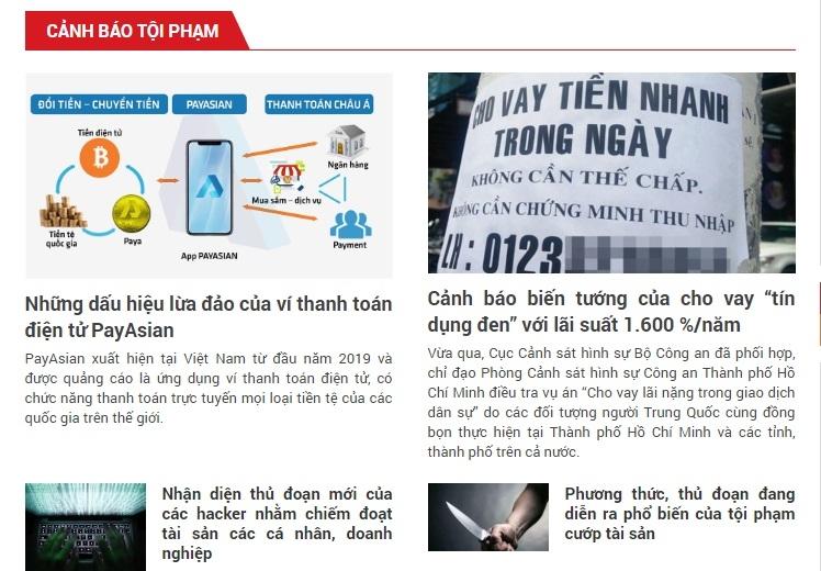 bo cong an mo chuyen muc canh bao toi pham