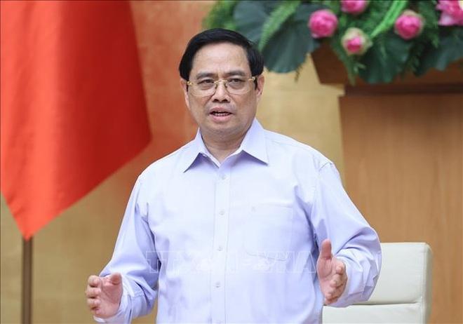 Thủ tướng Phạm Minh Chính chủ trì cuộc họp. (Ảnh: Dương Giang/TTXVN).