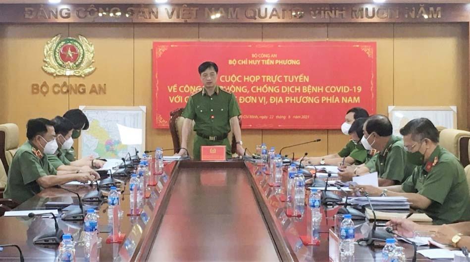 Thứ trưởng Bộ Công an Nguyễn Duy Ngọc phát biểu chỉ đạo tại cuộc họp