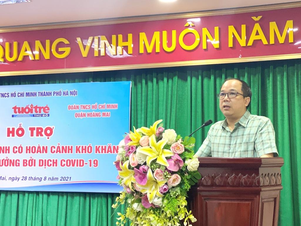 Đồng chí Nguyễn Mạnh Hưng, Tổng biên tập báo Tuổi trẻ Thủ đô phát biểu tại chương trình