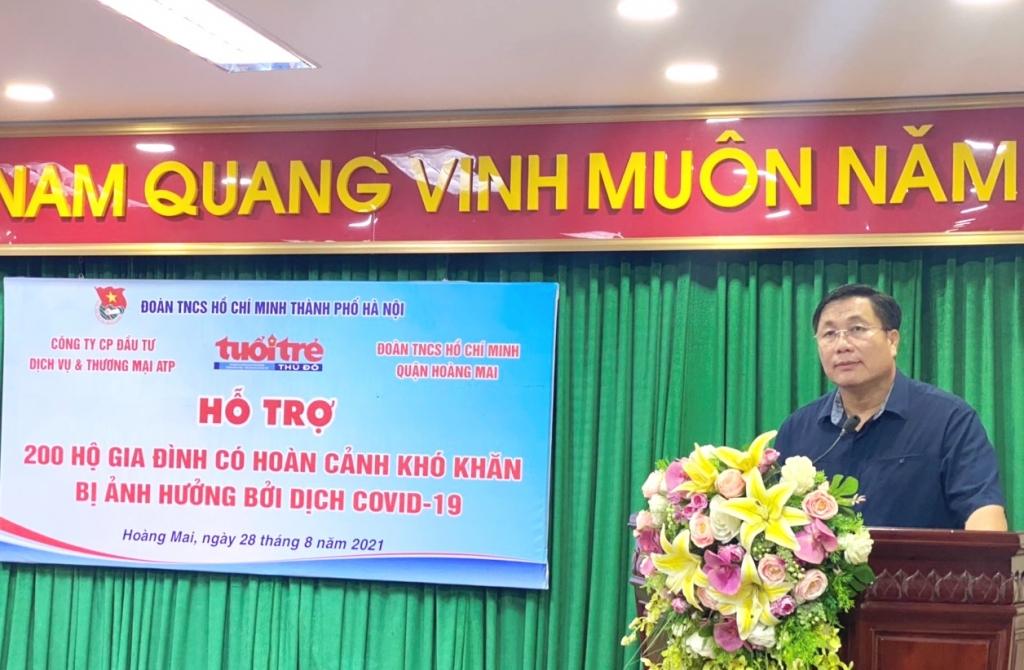 Bí thư Quận ủy Hoàng Mai Nguyễn Quang Hiếu phát biểu tại chương trình