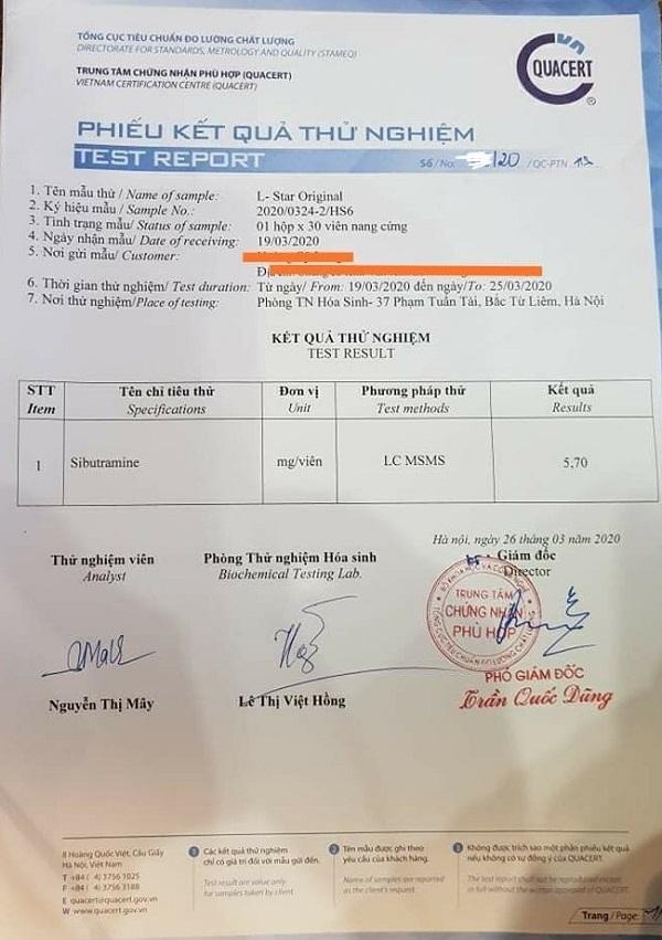 nghi an san pham vien uong giam can l star chua chat cam nguy hai