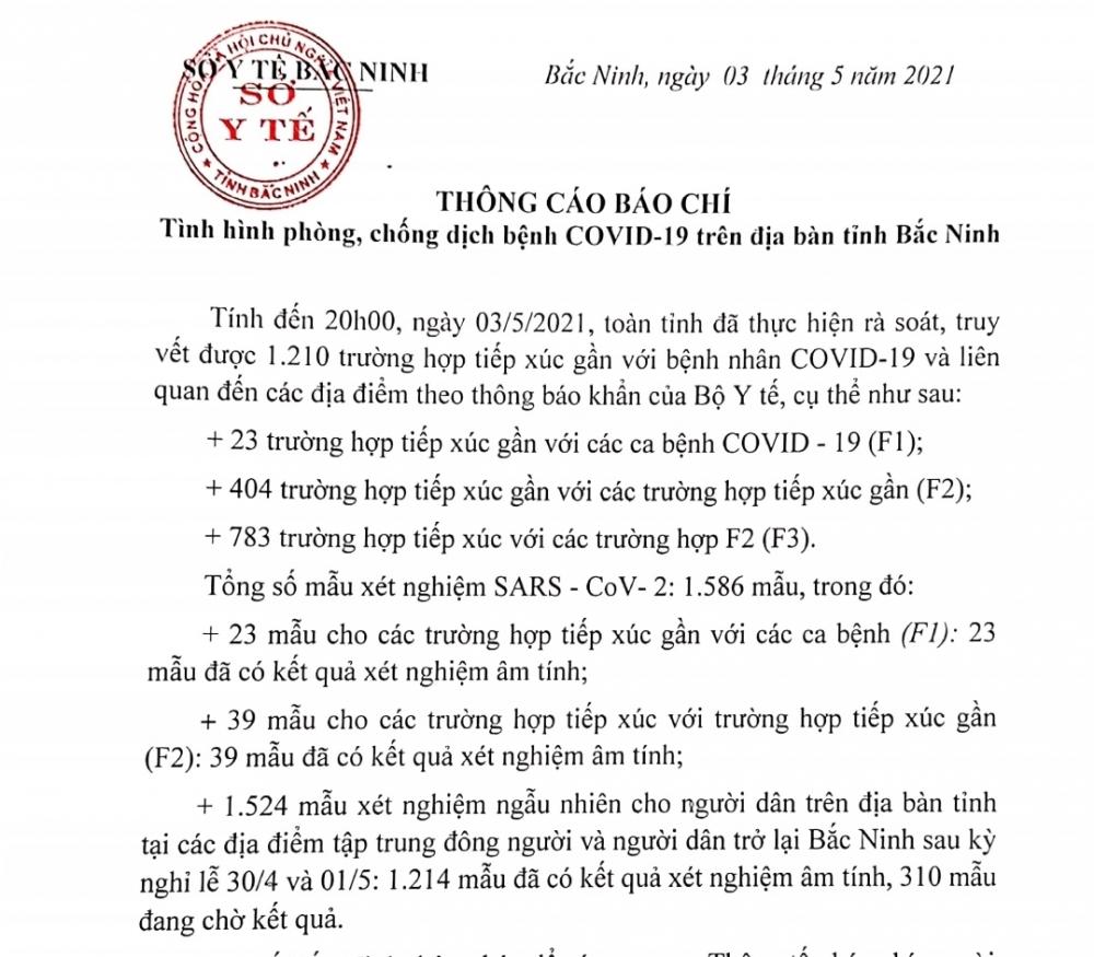 Bắc Ninh: Hơn 1.000 mẫu xét nghiệm Covid-19 ngẫu nhiên đã cho kết quả âm tính