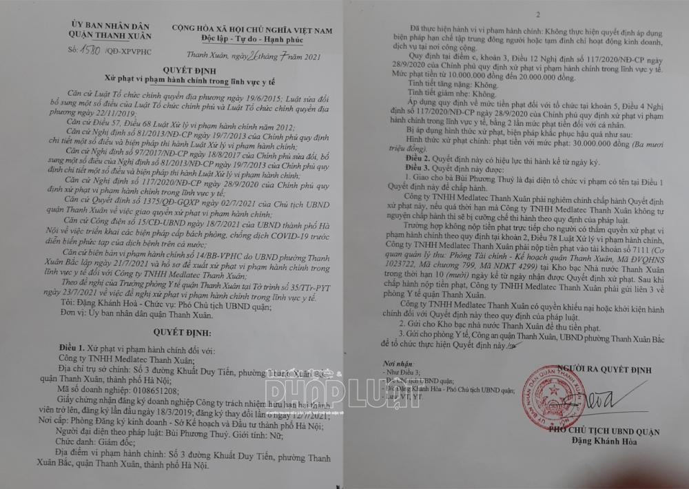 Phòng khám đa khoa Medlatec Thanh Xuân bị xử phạt vì vi phạm nghị định của Chính phủ