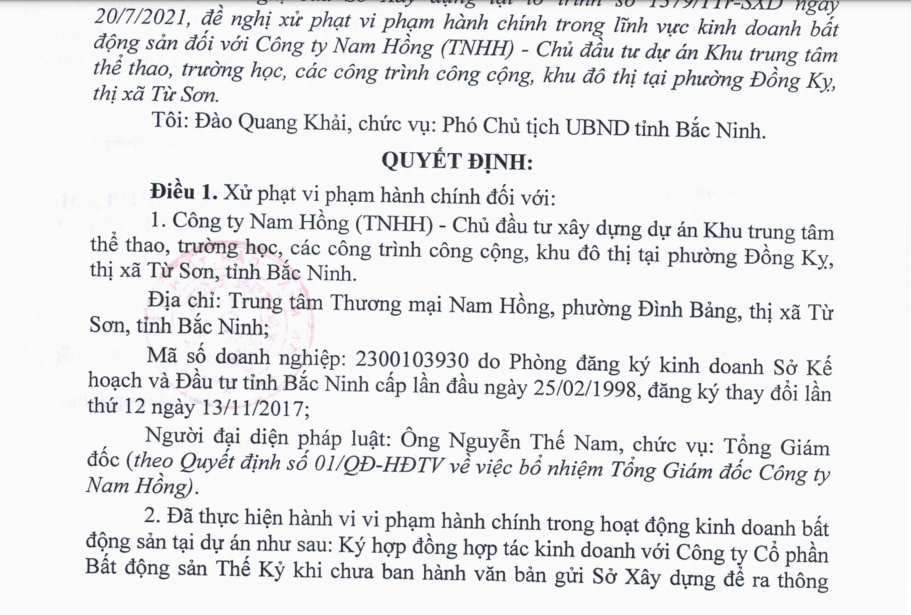 Bắc Ninh: Công ty Nam Hồng bị xử lý vì vi phạm trong kinh doanh bất động sản
