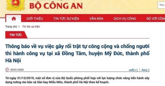 bo cong an thong tin ve vu viec chong nguoi thi hanh cong vu tai xa dong tam