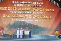 Hải Phòng: Đón nhận Bằng Khu Di tích lịch sử Quốc gia Bạch Đằng Giang