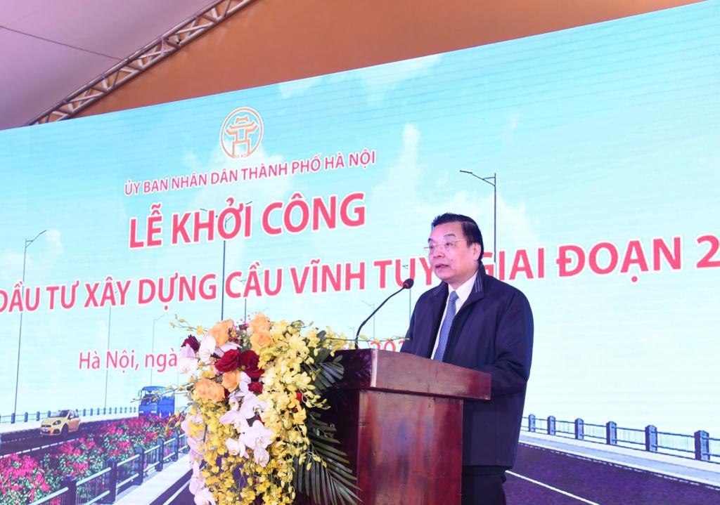 Chủ tịch UBND TP Hà Nội Chu Ngọc Anh phát biểu tại lễ khởi công