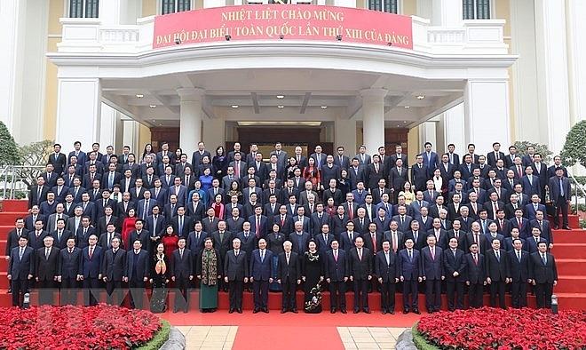 Các đồng chí lãnh đạo Đảng, Nhà nước và Ban Chấp hành Trung ương Đảng Cộng sản Việt Nam khóa XII, nhiệm kỳ 2016-2021. Ảnh: Trí Dũng/TTXVN