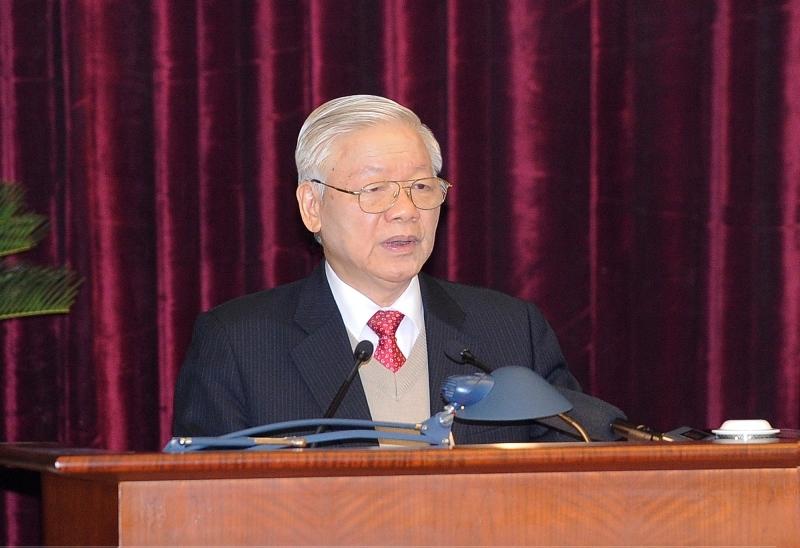 Tổng Bí thư, Chủ tịch nước Nguyễn Phú Trọng phát biểu khai mạc hội nghị. (Ảnh: ĐĂNG KHOA)