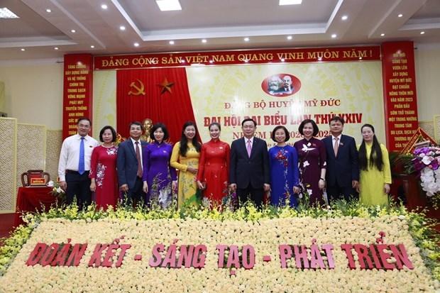 Đồng chí Bí thư Thành ủy Hà Nội Vương Đình Huệ dự Đại hội đại biểu lần thứ XXIV huyện Mỹ Đức. (Ảnh: Vietnam+)