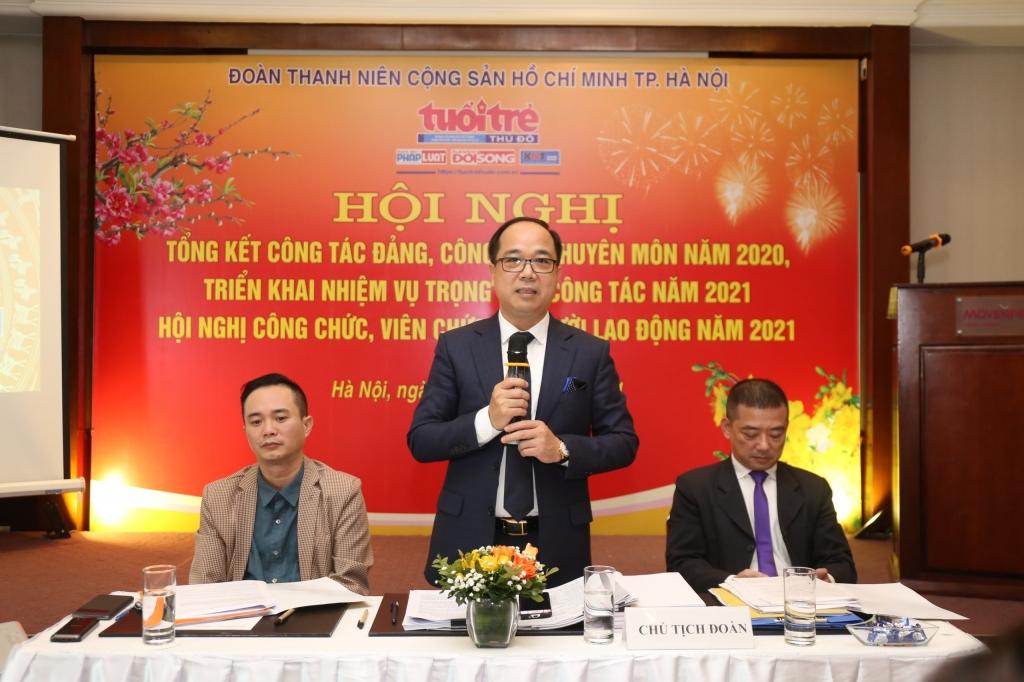 Đồng chí Nguyễn Mạnh Hưng, Bí thư chi bộ, Tổng Biên tập báo Tuổi trẻ Thủ đô phát biểu tại hội nghị