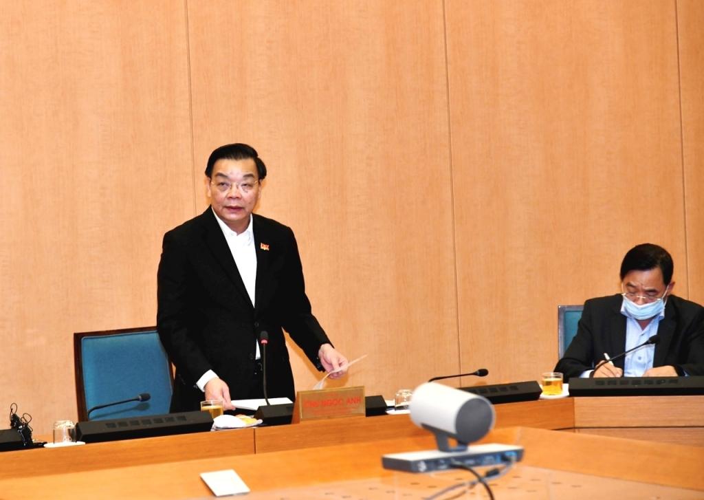 Chủ tịch UBND TP Hà Nội Chu Ngọc Anh phát biểu kết luận cuộc họp